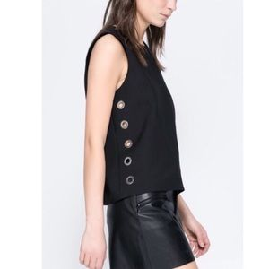 ZARA Black Top with Side Eyelets LIKE NEW XS